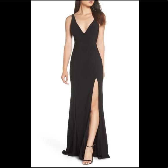 Mac Duggal Dresses & Skirts - Mac Duggal Plunge Neck Slit Jersey Gown